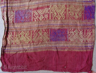 Tai Lue weaving, cotton supplementary weft with silk embroideries.