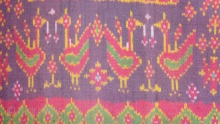 Rare Silk Ikat Cambodia ,Woven in Tie dye technique that requires a weft thread to be dyed before weaving.   Size:1.80 x 1.23 M.    Early 20th Century.   ...