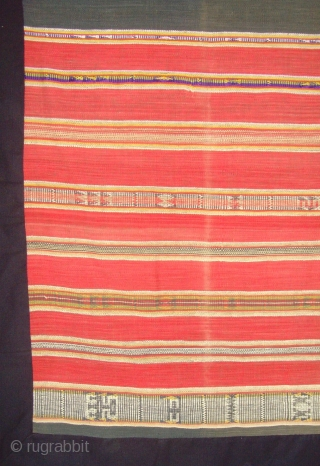 Rare Tube skirt( OPENED AND MOUNTED ) Mon Khmer people in south Laos. Supplementary weft Cotton on Cotton. Striking stylized animal and ancestral figures.  1.73 X  1.20 M.  Laos.  ...