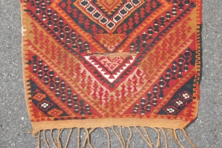 Old East Anatolian(Adiyaman)prayer kilim, synthetic orange 73x120 cm