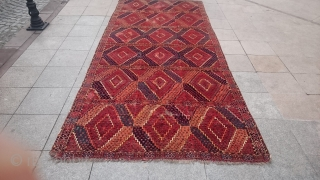 Antique Türkmenistan Beshir Carpet Real Great Colors.Size 385x165 There are two particle cuts from the neck paint in inside