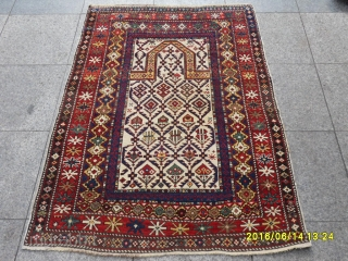 Antique Caucasia Prayer White Marashali Carpet size:140x100