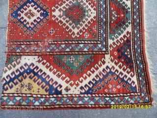 Antique Caucasian Borjalu Kazak Carpet Fragment size: 155x120