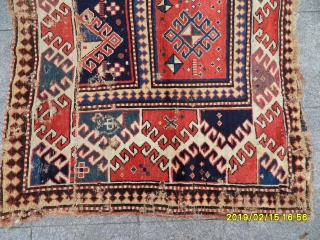 Antique Caucasian real great old borçalu Kazak fragment Carpet size: 145x125
