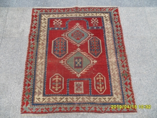 Antique Prayer Fahrola Kazak Carpet size: 115x100