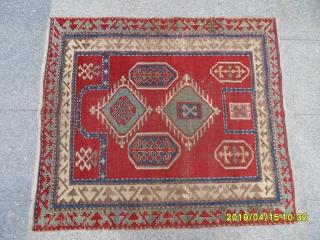 Antique Prayer Fahrola Kazak Carpet size: 115x100