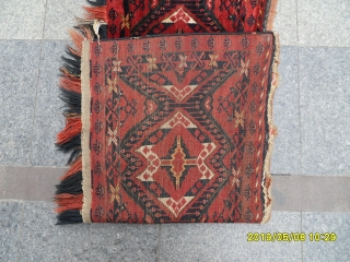 Antique türkmen beshir rug size: 150x58