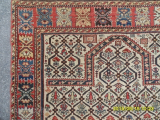 Antique Caucasian Şirvan Prayer Marashali Carpet size: 147x118