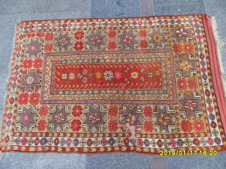 Antique Anatolian Ada Milas Carpet size: 145x100 cm.