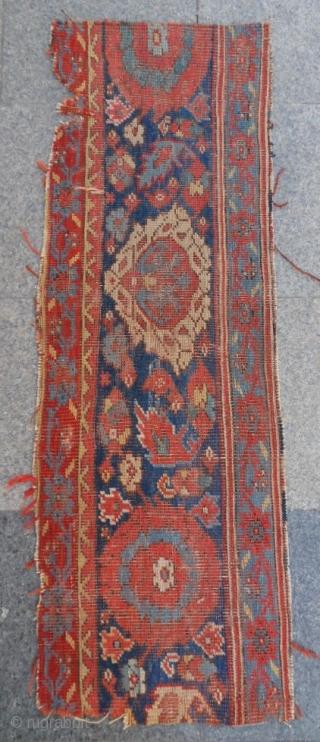Antıque Anatolıan Ushak Fragment Carpet size: 135x50
