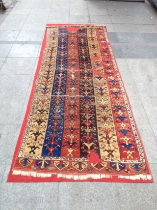 Antique Anatolian Karapınar Runner Carpet Size 290x101