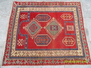 Antique fahrola prayer kazak size: 115x102 cm.