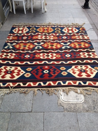 Antique Caucasian Kazak Kilim Great condition and colors Size 206-190