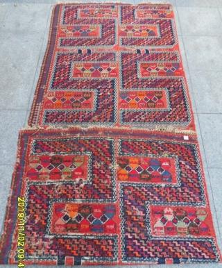 Antique Caucasian Soumak Sileh Verne size: 300x115 cm.