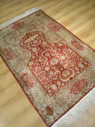 Hereke Silk Topkapı Dizayn 1. cm 12.Knot. size: 170x115 cm.