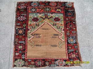 Antique Anatolian Konya Karaman Prayer Carpet size: 110x101