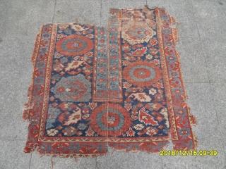 Antique Ushak Fragment Carpet size: 120x105x115
