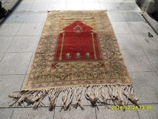 Antique Anatolian Sivas Silk Carpet Prayer size: 183x128