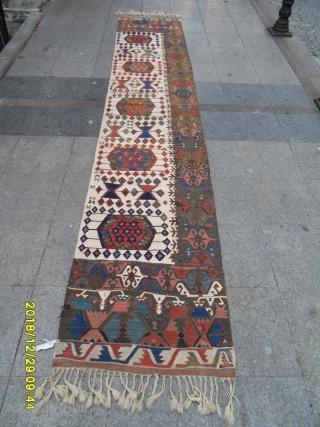 Antique Anatolian Kilim size: 420x80