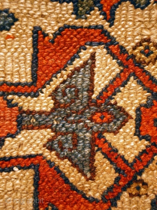 A very interesting and unusual Kurdish Rug Fragment from NW Persia, possibly early 19th century, 74 x 121 cm. Almost a quarter of the original carpet, this fragment is very well designed  ...