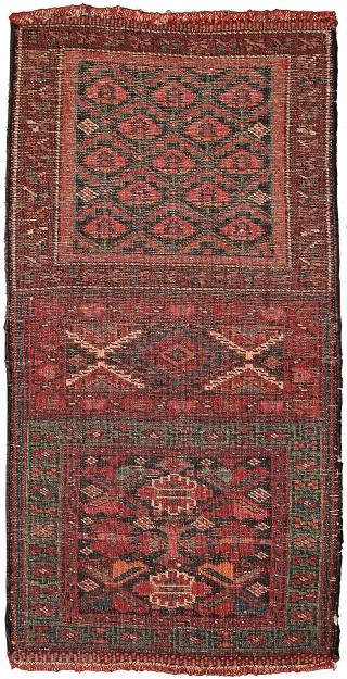 Pile double khorjin face, Sanjabi Kurds, Northwest Persia, Circa 1880, 75 x 38 cm (29.5 x 15 in.)   Knot count:19 H x 13 V = 247 kpsi. Colours:copper, pinkish red, rose, light blue,  ...