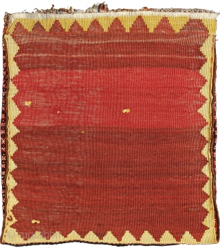 Pile khorjin, Qashqa'i Confederacy, Safi Khani tribe, Southern Persia, Circa 1880, 61 x 56 cm (24 x 22 in.)  Knot count:12 H x 14 V = 168 kpsi. Colours:rust red, coral red, dark  ...