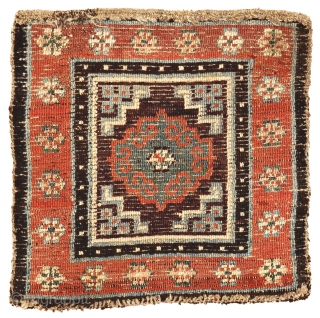 Meditation mat with archaic Mandala, Tibet, circa 1850, 62 x 61 cm (24.5 x 24 inches)