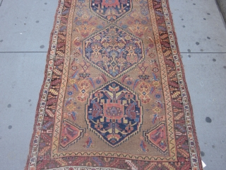 Antique Bidjar measuring 9.2 x 4.3 from late 19th century.Solid rug with general even wear.No dry or hard spots.One end guard border has unraveled and there is one old repair on the  ...