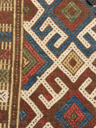 Ancient Shahsavan embroidered kilim. Rare piece, for reference see Tanavoli. Natural brown wool embroidered with large sprawled hooked pattern, reminiscent of Kazak kilims. Best colors, white is cotton. One red dye deeply  ...