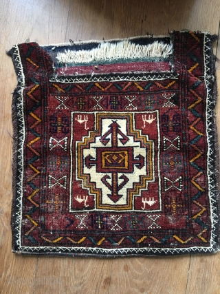 Kordi Kurdish Namakdan (salt bag) from Quchan which at some point in it's life lost it's neck. Very good colors, some wear from tribal use. Very nice example.