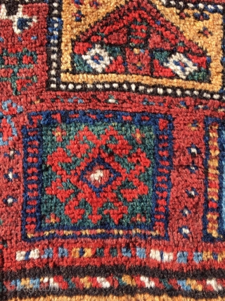 Kordi Kurdish rug from Quchan. 7,15 x 4,56 ft (218 x 139 cm). Best colors and wool. Classic Hauzi (watertank) design from the Bojnurd region. Around 1880. See Stanzer (Kordi) on dating  ...
