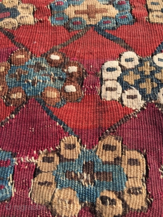 Early 19th century Anatolian kilim. Great colors and drawing, clean, but sides and ends reduced. Remaining field generally in good condition. As is, or can be attractively divided in several panels for  ...