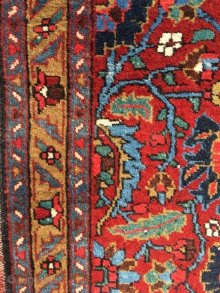 Rare Heriz poshti, size 53.5 x 34. 2 inch  (136 x 87 cm). Glowing colors, fat wool, mint condition, only the lower end reduced by a couple of lines.