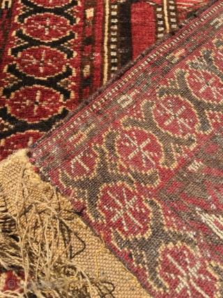 Pictorial rug Ersari with unusual perspective. Very good condition, shirazi and kilim not original.