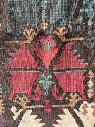 Excellent Anatolian kilim, circa 1800, Double Carnation design, very good border and sides (elibelinde), single wing. In outstanding condition, fine weave, perfect colors, including purple and apricot. Rich details. As found, needs  ...