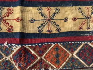 Early Anatolian striped kilim fragment. Best colors, some dirt and wear. Nice embroidery. Would do well mounted. Size 36.6 x 23.6 (93 x 60 cm).