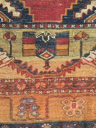 Older than most Anatolian Yahyali. Good colors and spacious design, very nice natural white, supple and finely knotted. As found, will benefit from a wash. Size 86.6 x 42.5 inch (220 x  ...