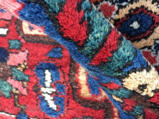 Bakhtiari area rug, circa 1930 in excellent condition. Totally original pile height. Beautifully individually abrashed colors. Minimal loss to lower end, some plaited fringe top end undone. Selve-edges original and pristine. Bakhtiari  ...