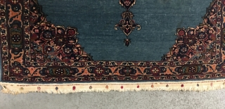 Elegant Isfahan area rug, seems to have always been on a table given the original pile height. Size 59 x 42.5 inch (150 x 108 cm). 1st quarter 20th century. Unusual blue  ...