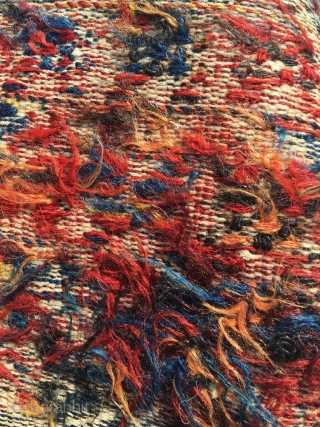 Luri double khorjin, pile weave with sumakh and kilim. Seams undone; the bridge has not been removed as in so many younger examples, this is the authentic lay out. Right hand side  ...
