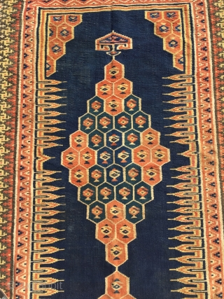 Bakhtiari shushtar kilim (sofreh), second half 19th century. Natural camel wool, threadlike warps. These kilims were ceremonial items; Tanavoli suggests they were used as sofrehs and they have also been known to  ...