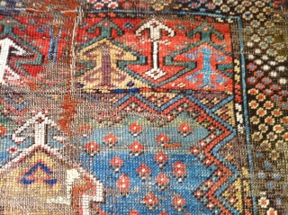 """mid 19th century central Anatolian  mujur rug rough condition but great color size 46""""X58"""""""