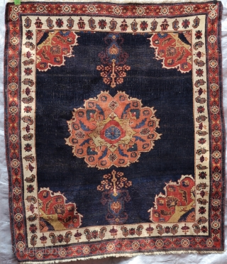 Early Afshar rug deeply suturated colors rear design and very finely woven size 41X48
