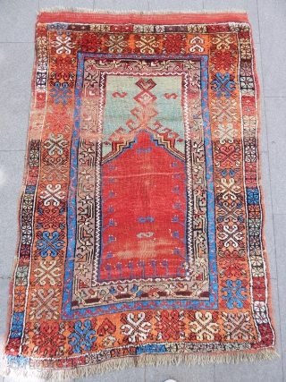 Antique Anatolian Aksaray Prayer Rug 