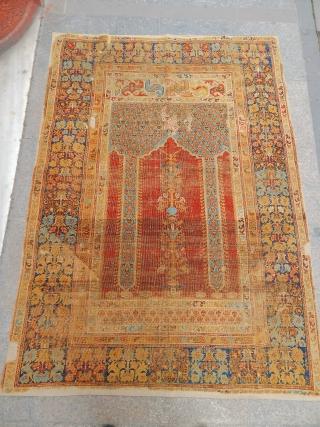 Antique west Anatolian Kula type Transylvanian columned prayer rug