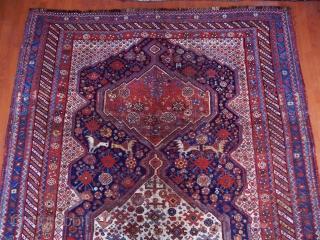 Antique Qashqaii Khamse Rug Mid Old Restorations  size.415x205cm