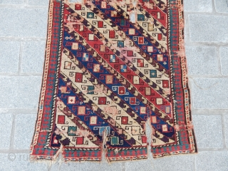 Antique Caucasian Gence Prayer Rug Fragment