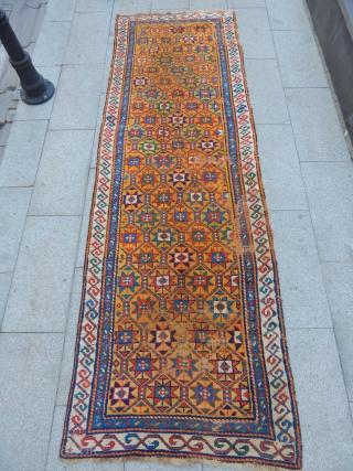 Old Caucasian Kazak Runner size.280x92cm