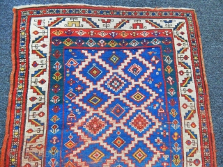 Old Caucasian Fahrola Kazak Carpet size.162x87cm