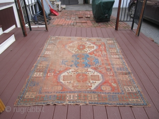 "antique worn caucasian kazak rug measure 5' 2"" x 6' condition is worn as shown solid rug not dry beautiful colors 675.00 or best offer"
